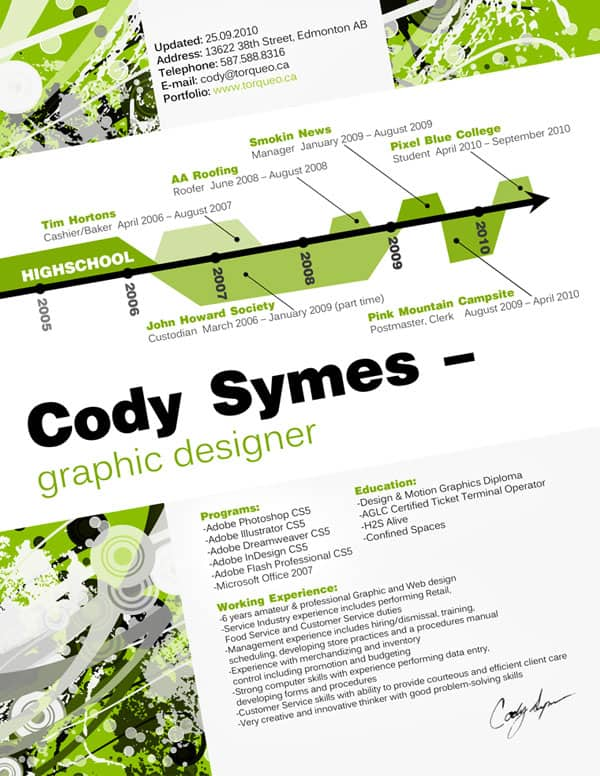 cody  s resume by codysymes 30+ Creative Designer Resumes to Grab Attention