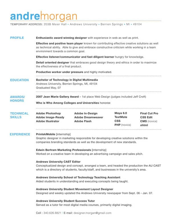 col andre morgan resume full 30+ Simple Resume Design Ideas that work