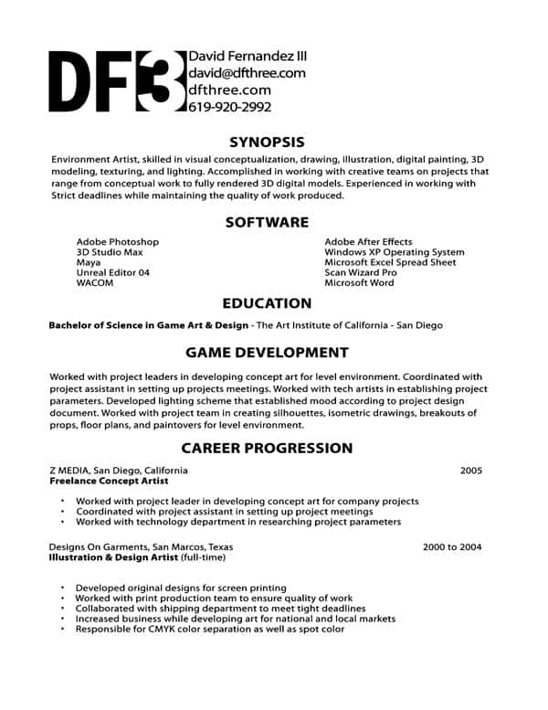 David Fernandez U2013 Game Developer Resume  Game Design Resume