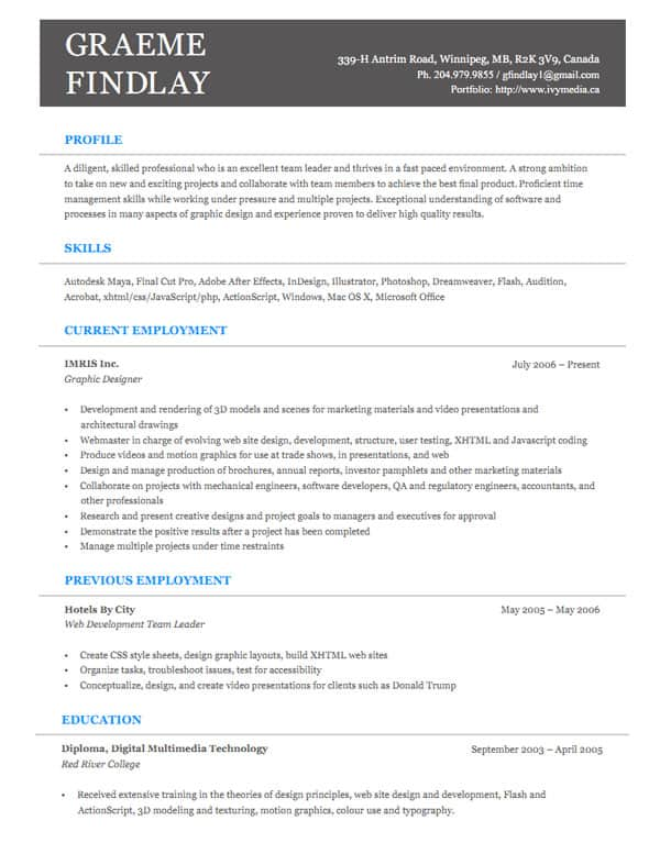 30 Simple Resume Design Ideas that work – Programmer Resume Template