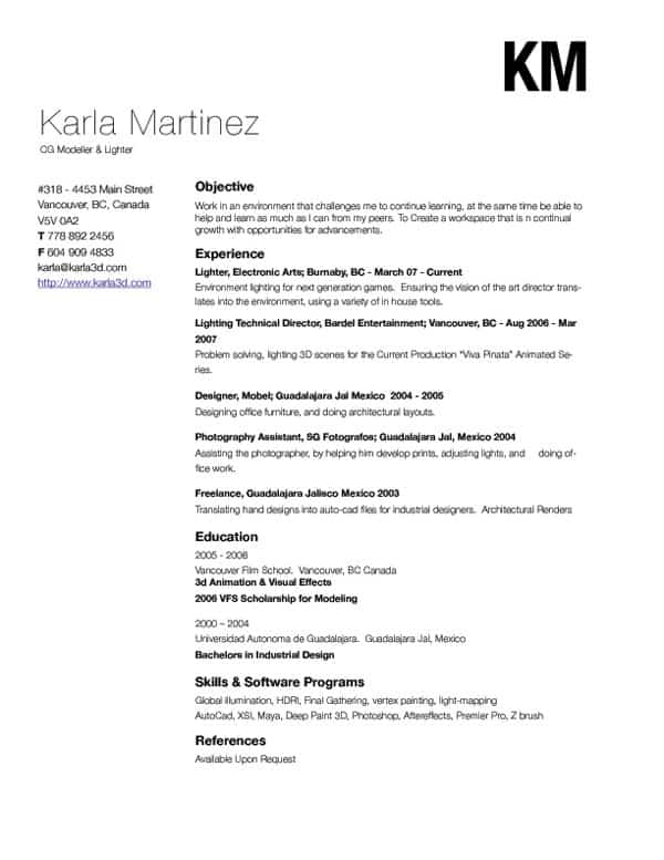 karla3D 30+ Simple Resume Design Ideas that work