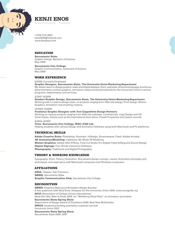 30 simple resume design ideas that work - Graphic Design Resumes