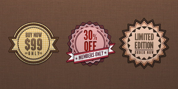 psd retro badges style vintage label 20 Free Price Tags PSD | Pricing Templates