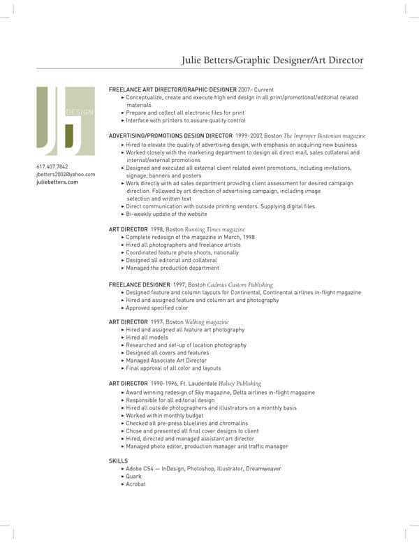 resume by juliebetters 30+ Simple Resume Design Ideas that work