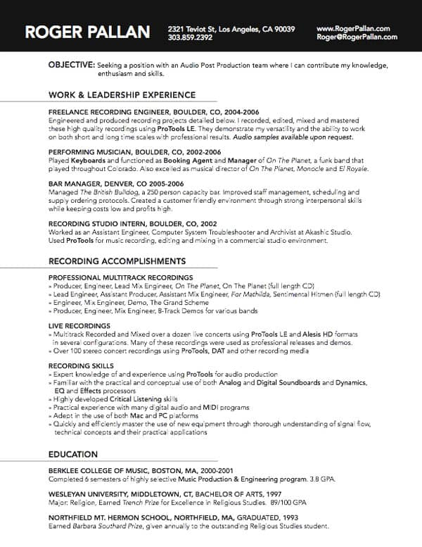 roger pallan 30+ Simple Resume Design Ideas that work