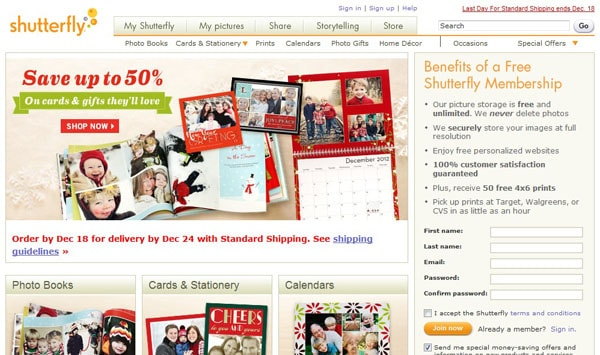 shutterfly 15 Top Free Photo Sharing Websites