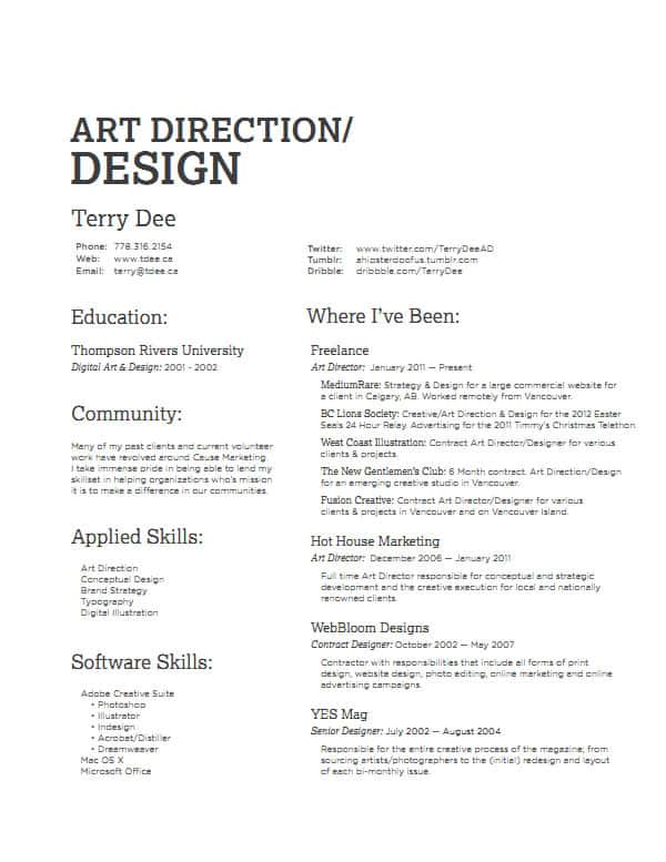 terry dee 30+ Simple Resume Design Ideas that work