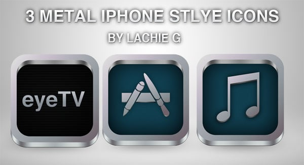 3 metal iphone style icons by apple 30+ iPhone App Icons Collections