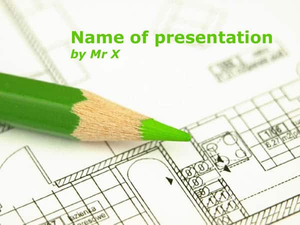 A green pen on a plan Free Powerpoint Template