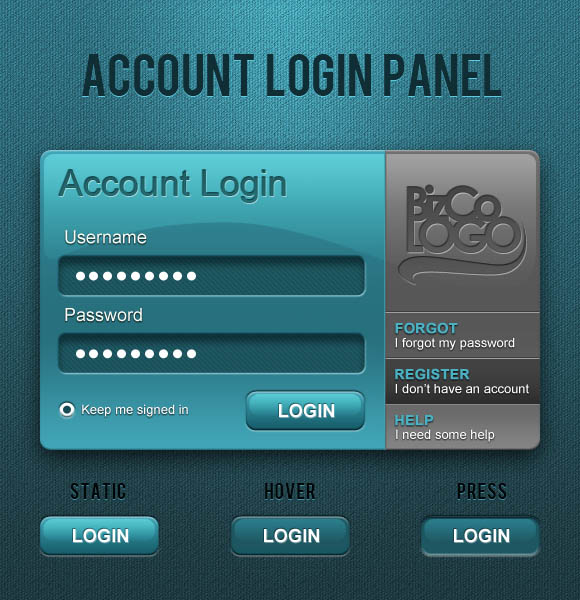 Account Login Panel 30 Free PSD Login Page Templates