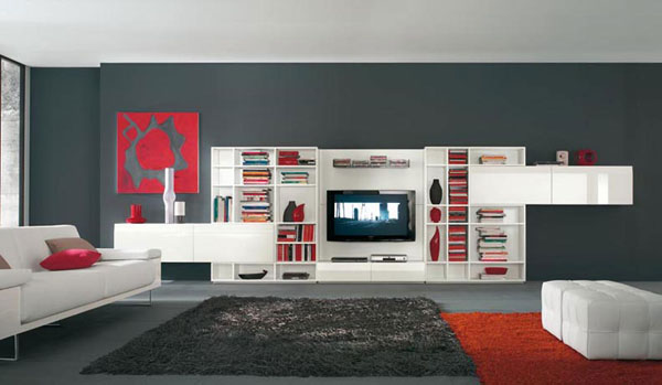 Amazing TV wall unit with red and white by Alf Da Fre 30+ Living Room Designs for your Sweet Home