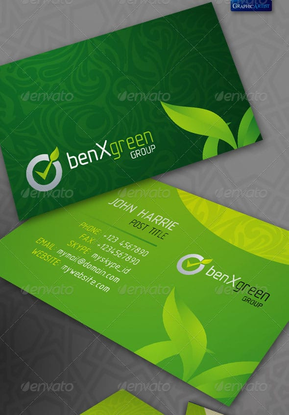 BenXGreen Corporate Business Cards 50+ Green Business card Designs