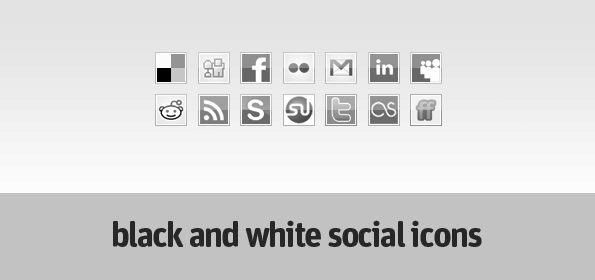Black and white social icons 30 Sets of Social Media/Bookmarking Icons