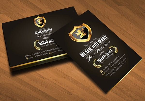 Black brewery beer corporate business card 30+ Luxury Business Cards