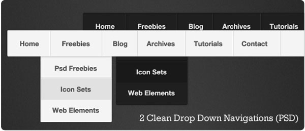 Clean Drop Down Navigation 40 Free Website Navigation Menu Bar PSDs