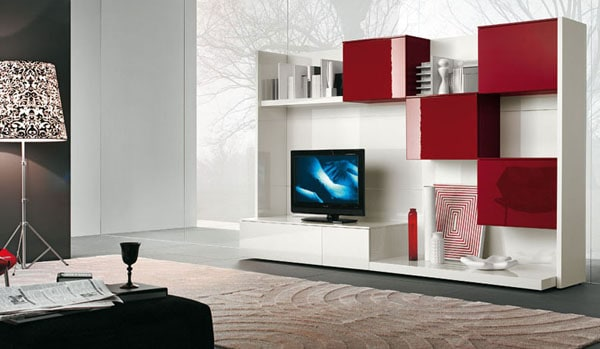 Cool Red and white TV wall mount by Alf Da Fre 30+ Living Room Designs for your Sweet Home