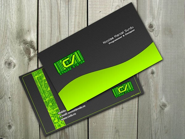 Cyborg Green Business card 50+ Green Business card Designs