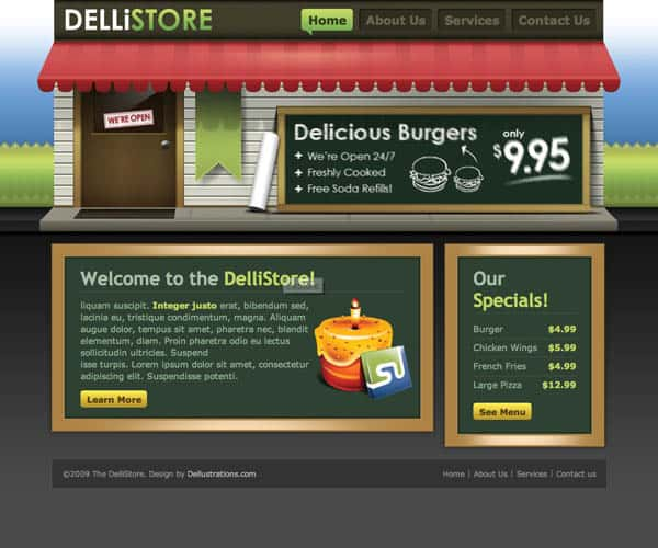 DelliStore 25 Free Dreamweaver CSS Templates