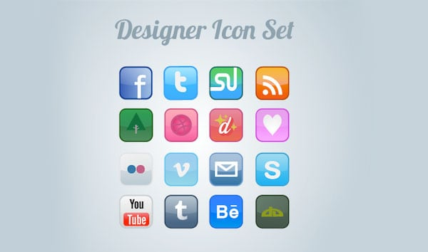 FREE DESIGNER ICON SET 30 Sets of Social Media/Bookmarking Icons