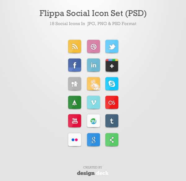 Flippa Social Icon Set 30 Sets of Social Media/Bookmarking Icons