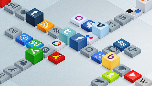 Free 3D Social Icons Set 30 Sets of Social Media/Bookmarking Icons
