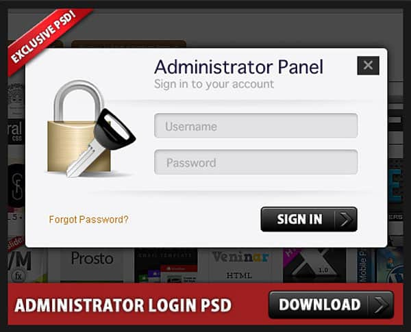 Free Administrator Login Panel PSD file 30 Free PSD Login Page Templates