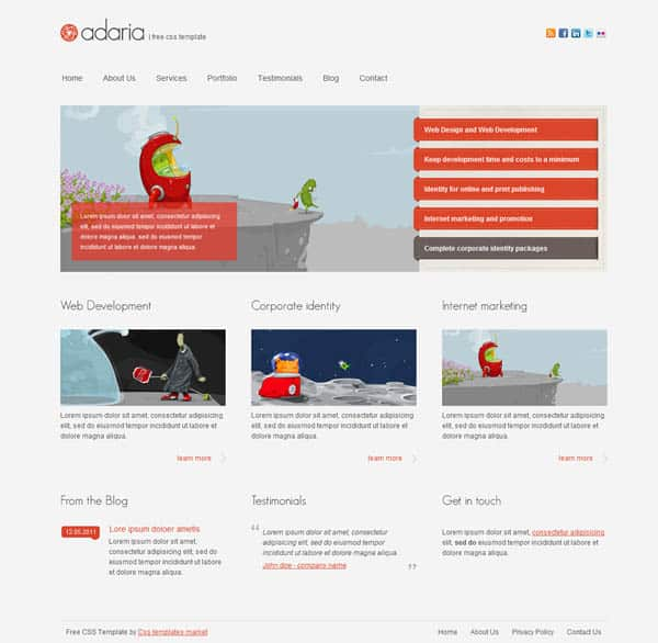 Free CSS Templates adaria 25 Free Dreamweaver CSS Templates