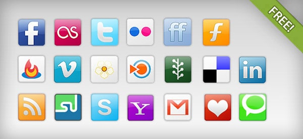 Free Social Network Icons 30 Sets of Social Media/Bookmarking Icons