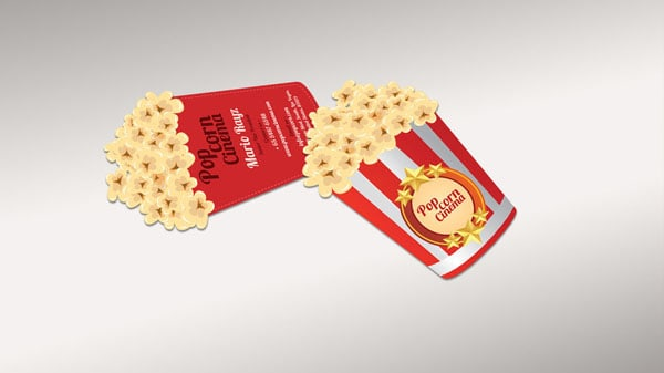 Golden popcorn business card