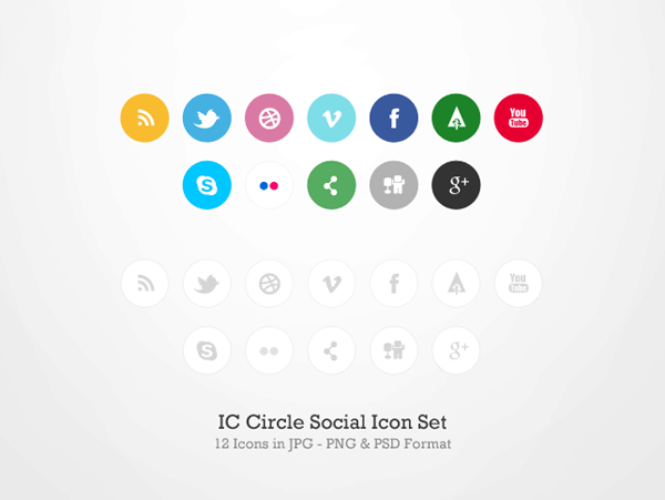 IC Circle Social Icon Set 30 Sets of Social Media/Bookmarking Icons