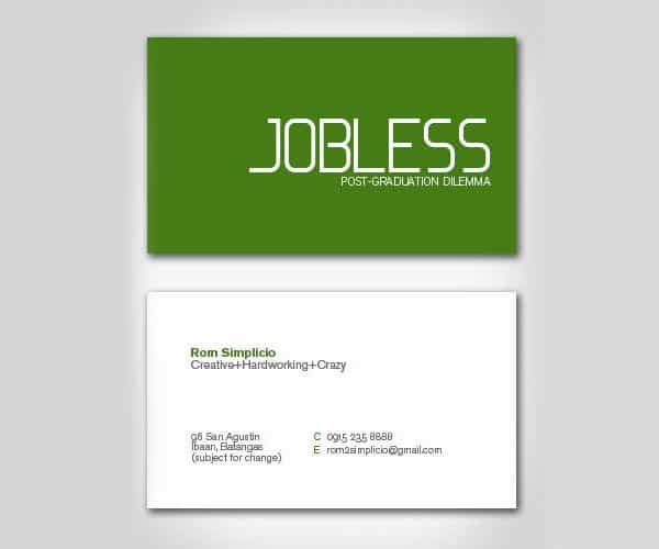 Jobless Business Card 50+ Green Business card Designs