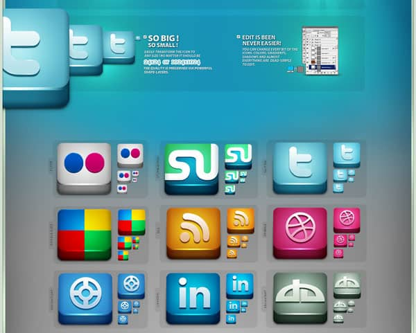 Lifetime Social Icons 30 Sets of Social Media/Bookmarking Icons