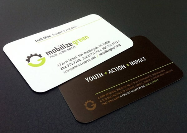 Mobilize Green Business Card Design 50+ Green Business card Designs