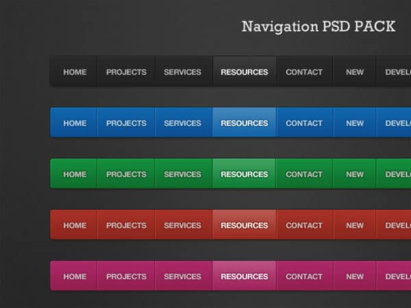 Navigation PSD Pack 40 Free Website Navigation Menu Bar PSDs