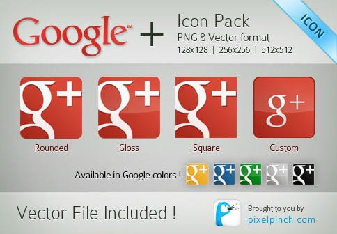 New Red Google Plus 30 Sets of Social Media/Bookmarking Icons