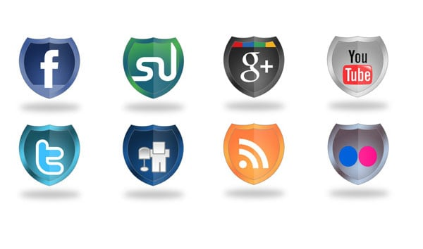Shield Social Network Icons 30 Sets of Social Media/Bookmarking Icons