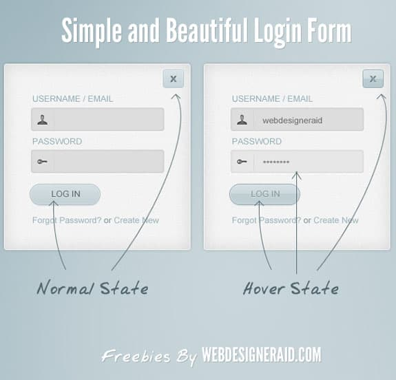 Simple and Beautiful Login Form 30 Free PSD Login Page Templates