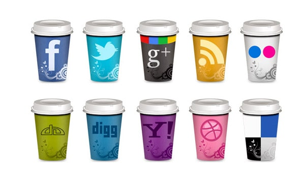 Social Icons Takeout Coffee Cup 30 Sets of Social Media/Bookmarking Icons