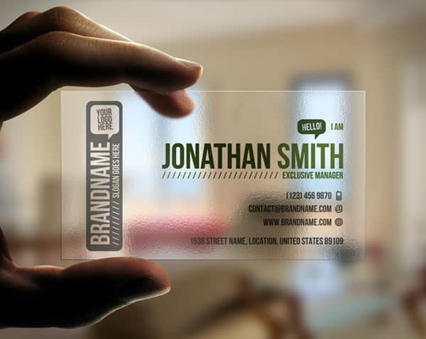 Transparent Business Card 50+ Green Business card Designs