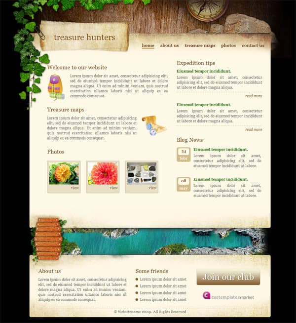 Treasure Hunters 25 Free Dreamweaver CSS Templates