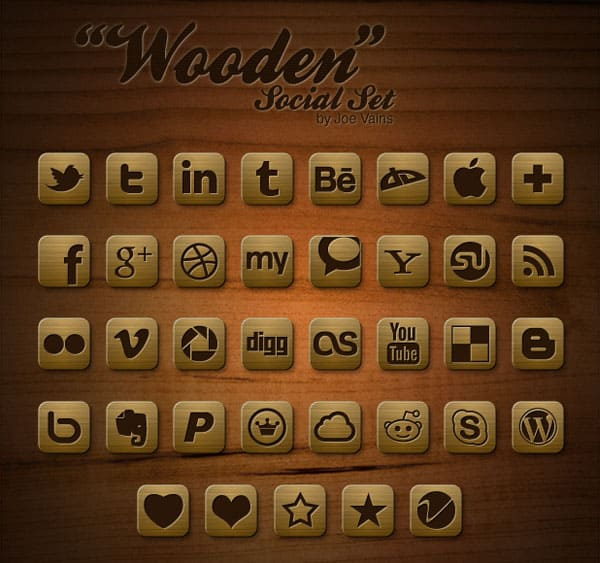Wooden Social Set 30 Sets of Social Media/Bookmarking Icons
