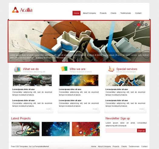 acalia 25 Free Dreamweaver CSS Templates