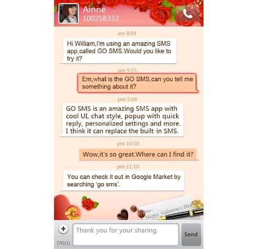 GOSMS Valentine's Day theme