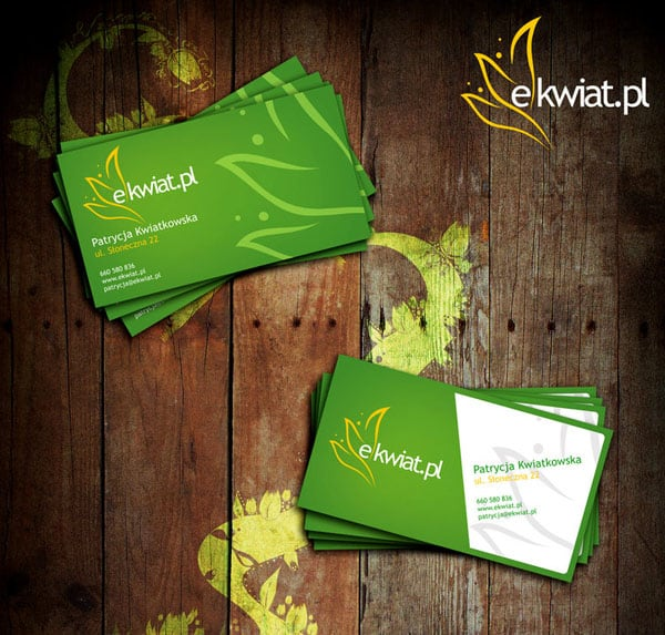 e kwiat 50+ Green Business card Designs