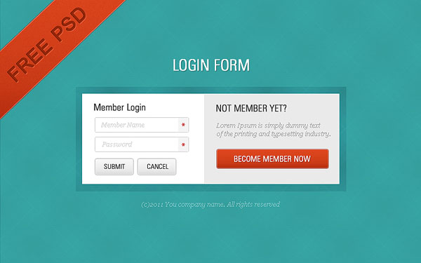 free psd source 30 Free PSD Login Page Templates