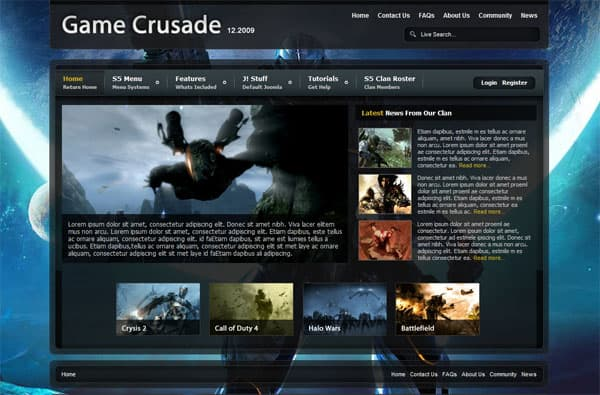 game crusade 25 Best Joomla Templates for Inspiration