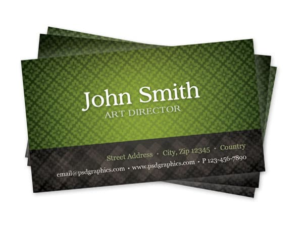 green pattern business card 50+ Green Business card Designs