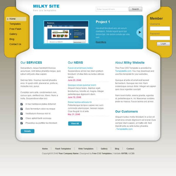 milky 25 Free Dreamweaver CSS Templates