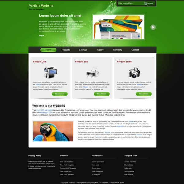 particle 25 Free Dreamweaver CSS Templates