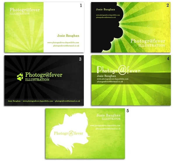 photografever 50+ Green Business card Designs